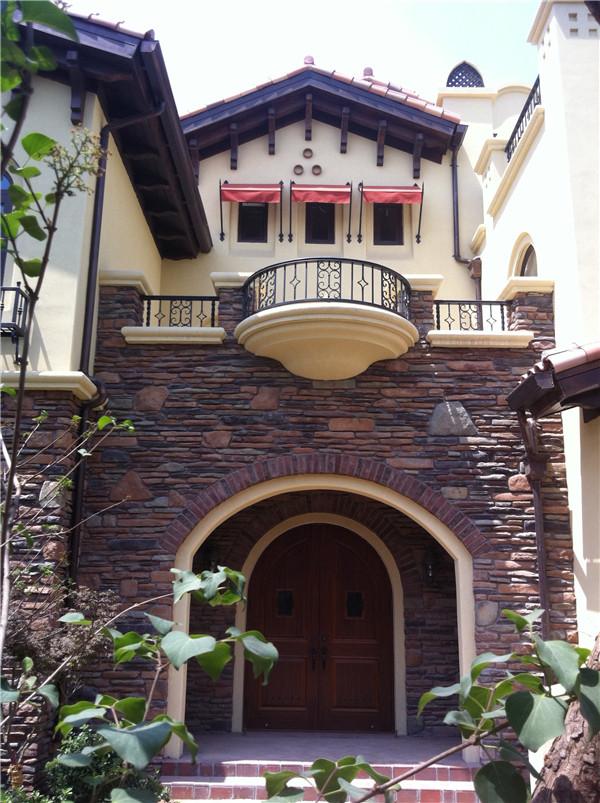 北京-别墅外装门头文化石粘贴效果图片