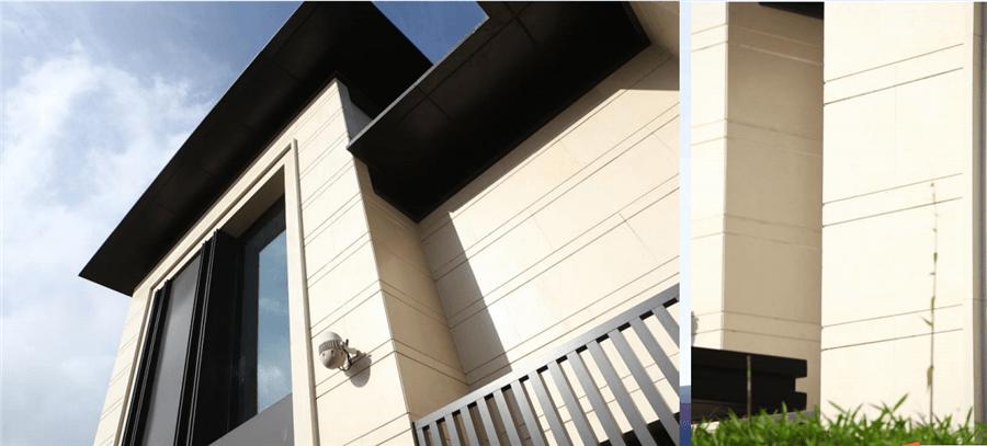 海南-融创1号外墙仿石灰石涂料装修效果图近景