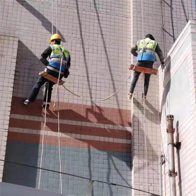 中航项目油蜘蛛人排查外墙瓷砖空鼓部位