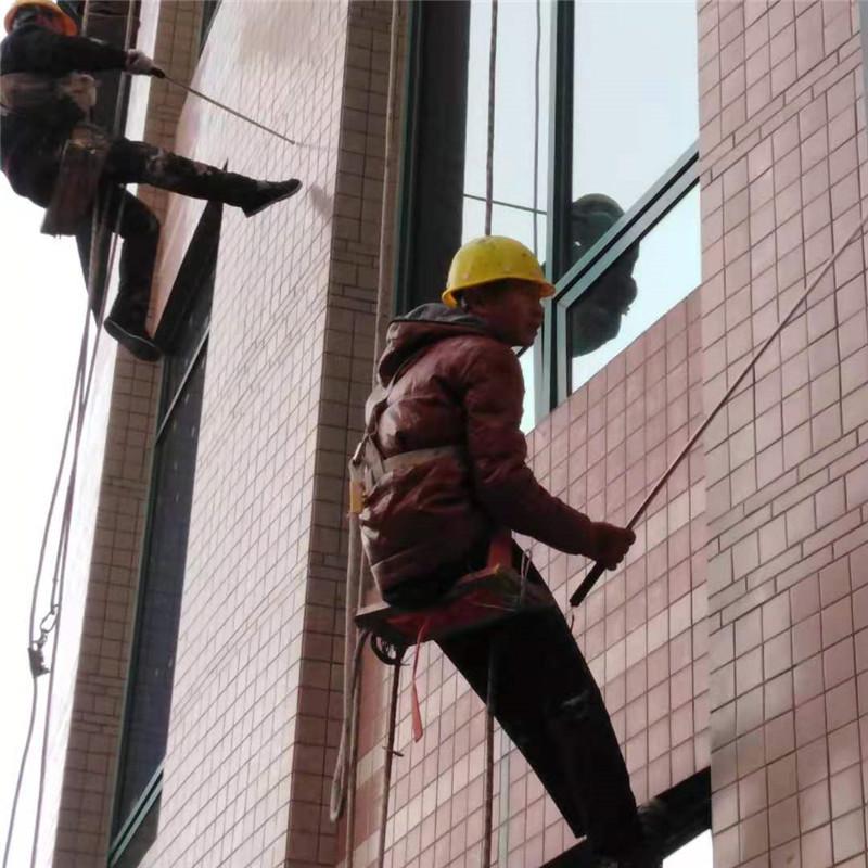高空蜘蛛人排查楼宇外墙瓷砖空鼓